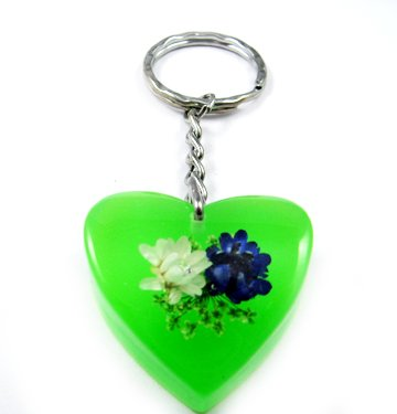 Green Heart Shape Amber Real Flower Key Chain Keyring NO.1