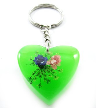Green Heart Shape Amber Real Flower Key Chain Keyring NO.2