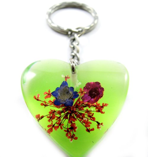 Green Heart Shape Amber Real Flower Key Chain Keyring NO.3
