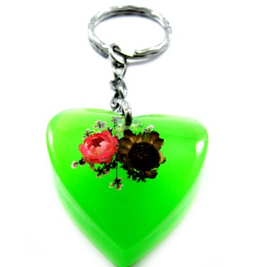 Green Heart Shape Amber Real Flower Key Chain Keyring NO.10
