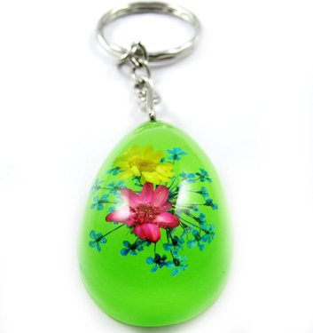 Green Oval Shape Amber Real Flower Key Chain Keyring NO.3