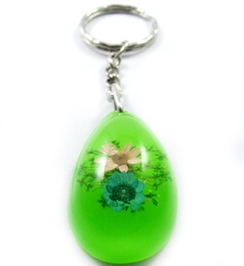 Green Oval Shape Amber Real Flower Key Chain Keyring NO.4