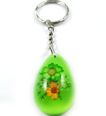 Green Oval Shape Amber Real Flower Key Chain Keyring NO.5
