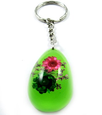 Green Oval Shape Amber Real Flower Key Chain Keyring NO.6