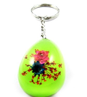 Green Oval Shape Amber Real Flower Key Chain Keyring NO.7