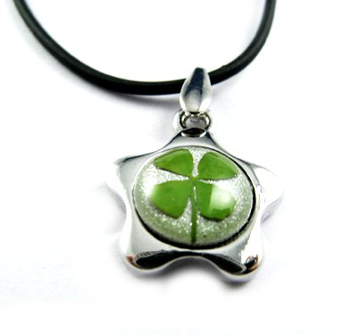 Real Four 4 Leaf Clover Charm Necklace Pendant Five-petaled Flowers