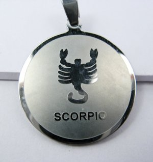 Stainless Steel Round Zodiac Necklace Pendant Scorpio