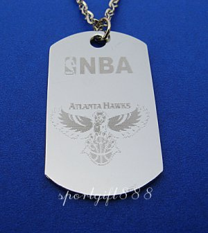 Stainless Steel NBA Dog Tag Necklace Atlanta Hawks New