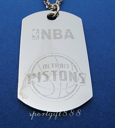 Stainless Steel NBA Dog Tag Necklace Detroit Pistons