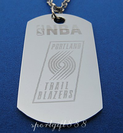 Stainless Steel NBA Dog Tag Necklace Trail Blazers