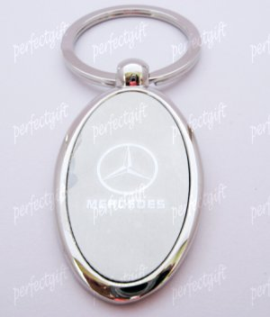 Oval Car Chrome Keyring Key Chain New Mercedes Benz