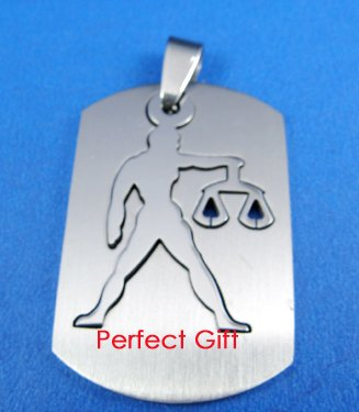 Libra Stainless Steel Horoscope Zodiac Necklace Pendant Dog Tag 2-Piece