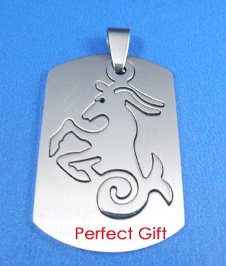Capricorn Stainless Steel Horoscope Zodiac Pendant Dog Tag 2-Piece