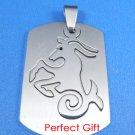 Capricorn Stainless Steel Horoscope Zodiac Pendant Dog Tag 2-Piece