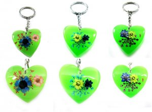 Wholesale Lot 6 Heart Shape Amber Real Flower Key Chain Keyring