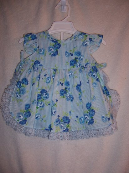 Blue flowered sundress size 6-9 mos.