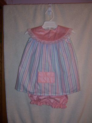 Ruffles, pink striped dress and panties size 6-9 mos.