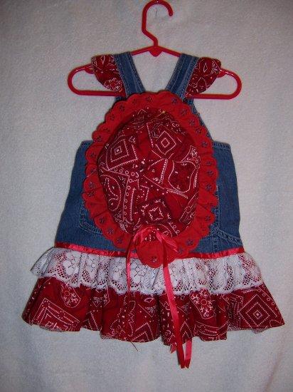Red and white  Bandana sundress and bonnet sz 6-12 mo.