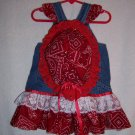 Red and white  Bandana sundress and bonnet sz 6-12 mo.