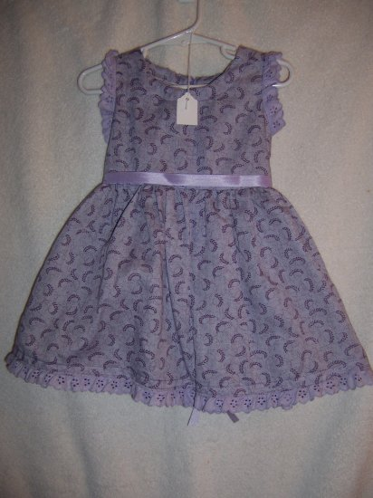 Purple paisley, white ribbon dress size 1