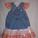 Orange and white jean sundress and bonnet size 12mo