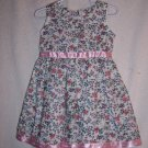 White flowered  dress with pink ribbons size 2