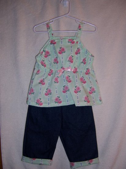 Light green and rose top with jean Capris sz 2