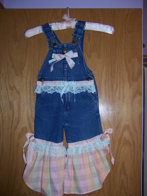 plaid ruffled overall capris and bonnet size 3