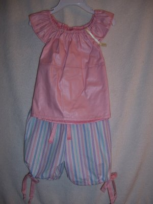 Pink top with striped capris size 4