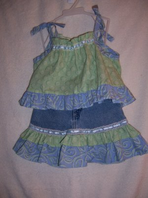 Lime green and blue ruffled top and skirt size 4