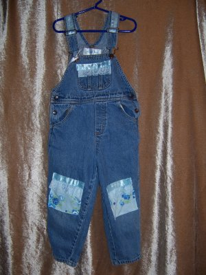 Blue and white ruffled overalls and baseball cap size 5