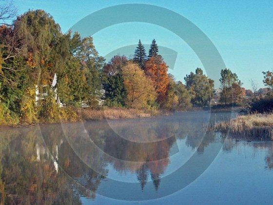 Indian Summer Morning - Unadilla River - 11014 - 11x17 Framed Photo