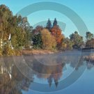 Indian Summer Morning - Unadilla River - 11014 - 11x17 Framed Photo