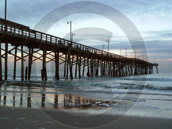 Topsail Island Pier - Topsail Beach - 1015 - 11x17 Framed Photo