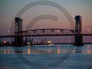 December Sunset - Cape Fear River Bridge - 2033 - 11x17 Framed Photo