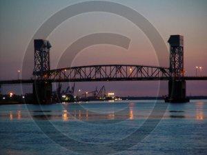 December Sunset - Cape Fear River Bridge - 2033 - 8x10 Framed Photo