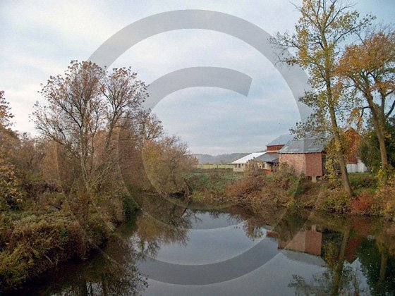 Farm on the Unadilla River - 7050 - 11x17 Framed Photo