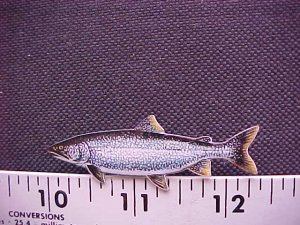 LAKE TROUT HAT PIN-HIGH QUAL-!!FREE SHP!!*L@@K!!