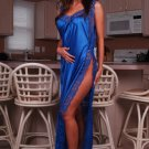 Long Lace Trimmed Toga with Side-Slit