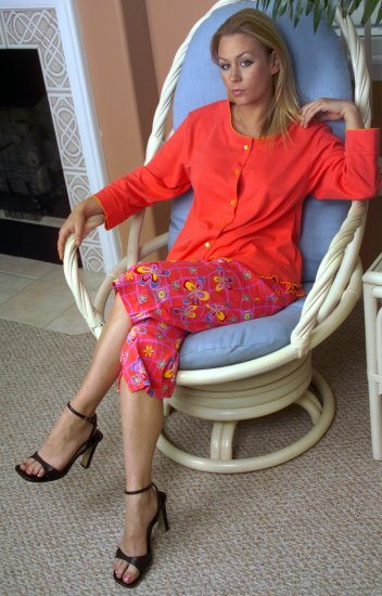Button-Front PJ Top with Contrast Venise Edging. Matching Printed PJ Pants. 100-percent Cotton.
