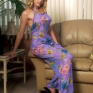 Floral Stretch Mesh Halter-Top with Matching Long PJ Pants.