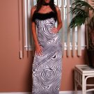 Animal Print  Long Gown with Maribu Feather Tim