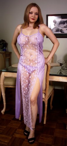Long Lace Front Toga with Matching Panty