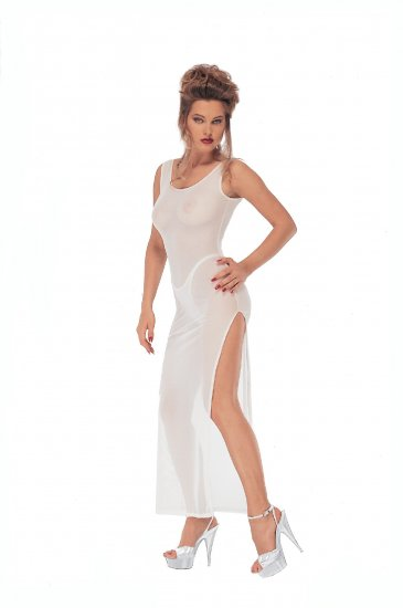 Long Tri Gown Wet Look. Stretch Lycra