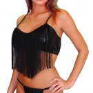 Pleather Baby Doll with Fringe Trim