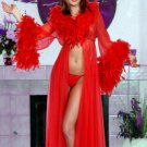 Feather Trimmed Stripper Robe and Matching Thong.