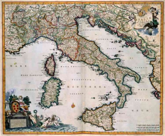 1681 Visscher Map of Italy--Reproduction