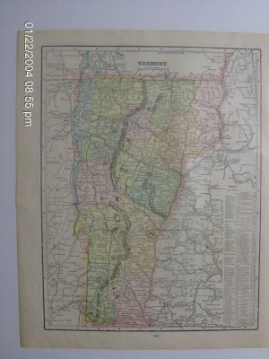1902 Cram's Atlas Map of New Hampshire and Vermont