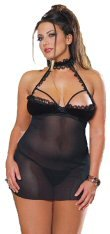 2 Piece Mesh Halter Babydoll with Demi Cups and Lace Trim