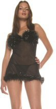 Sheer Mesh Babydoll with Marabou Trim and G-String